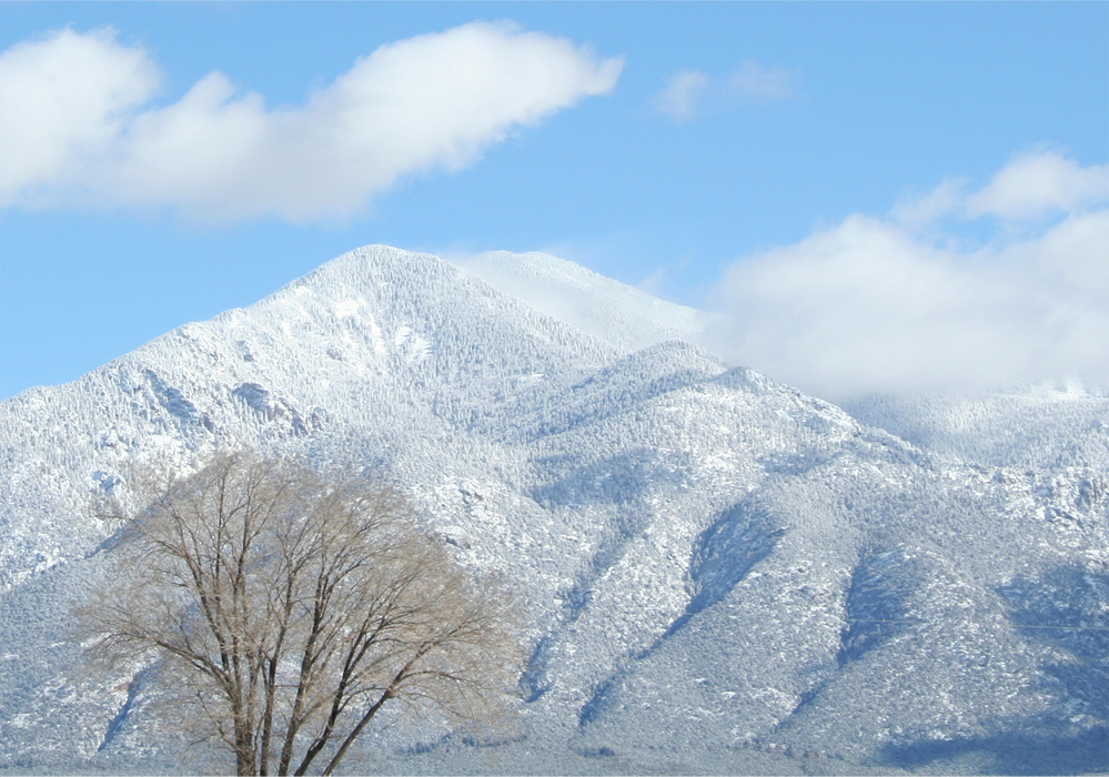 Taos mountain in snow